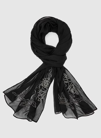 Foulard léger froissé à détails perlés, Noir, hi-res