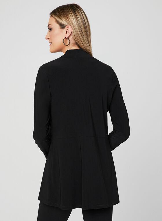 Long Sleeve Open Front Top, Black, hi-res