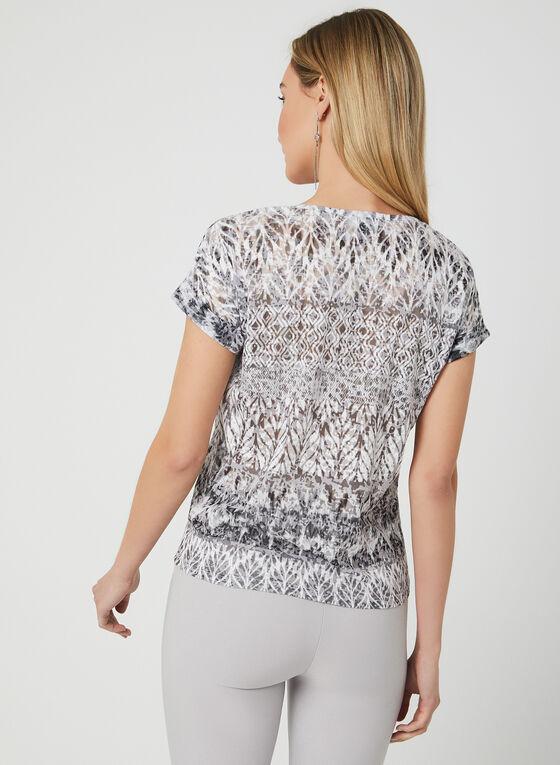 T-shirt à motif aztèque et nœud, Gris