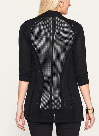 ¾ Sleeve Pointelle Cardigan, Black, hi-res