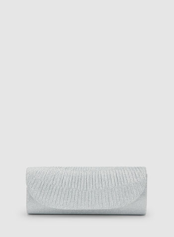 Glitter Flapover Clutch, Silver, hi-res,  spring 2019