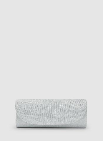 Pochette texturée scintillante, Argent, hi-res,  bal, printemps 2019, brillants, soirée, pochette, sac, sacoche