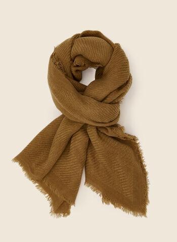 Foulard sergé à fines franges, Brun,  automne hiver 2020, foulard, sergé, franges, accessoire