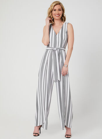 Emma & Michele – Draped Leg Jumpsuit, White, hi-res