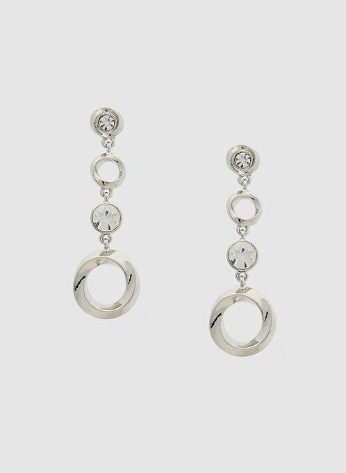 Boucles d'oreilles argentées à pendants ronds, Argent, hi-res