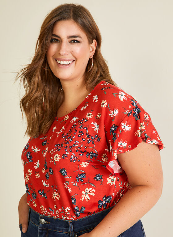 Floral Print Ruffle Sleeve Top, Orange