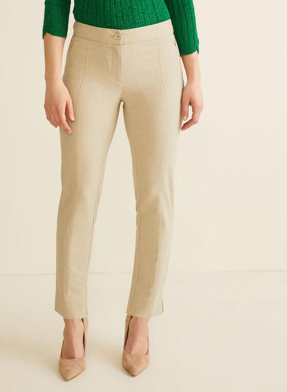 Pantalon coupe cité à jambe droite, Blanc cassé