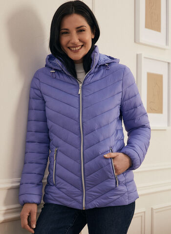 Ethical Down Quilted Coat, Blue,  coat, quilted, down, hood, pockets, spring summer 2020