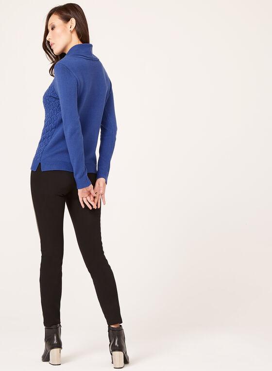 Pull tricoté à col roulé style bénitier, Bleu, hi-res