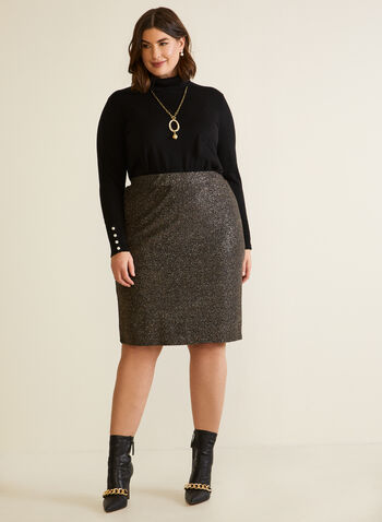 Shimmer Pencil Skirt With Elastic Waist, Black,  fall winter 2020, pull-on, elastic, shiny, lurex, made in Canada