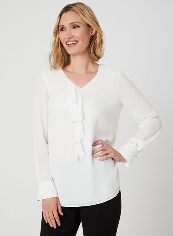 Ruffle Neck Chiffon Blouse, Off White, hi-res,  fall 2019, winter 2019, ruffles, long sleeves,