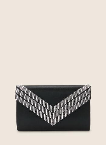Pochette enveloppe satinée à détails cristaux, Noir,  pochette, satin, cristaux, enveloppe, printemps été 2020