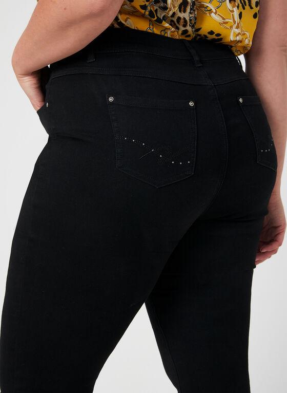 Jeans coupe signature à jambe droite, Noir