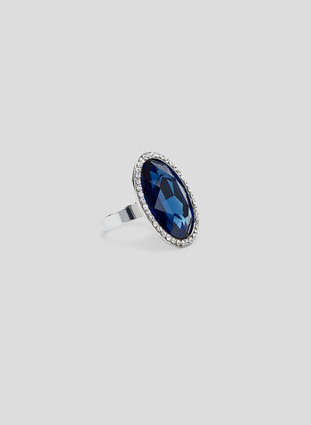 Adjustable Crystal Ring , Blue, hi-res