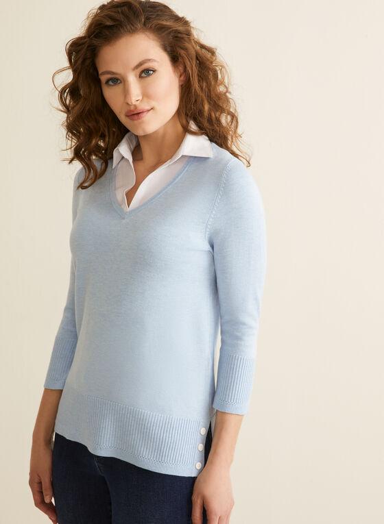 Rounded V-Neck Fooler Sweater, Blue