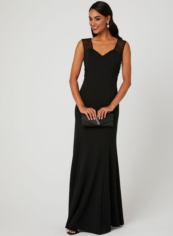 Sweetheart Neck Lace Trim Dress, Black, hi-res