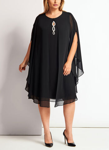 Crystal Embellished Cape Dress, , hi-res