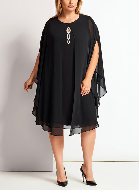Crystal Embellished Cape Dress, Black, hi-res