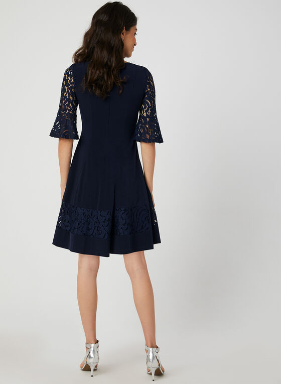 Fit & Flare Lace Sleeve Dress, Blue, hi-res