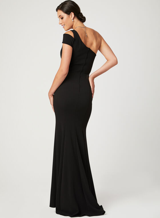 One Shoulder Mermaid Dress, Black, hi-res