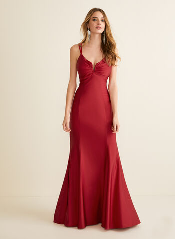 Sweetheart Neck Mermaid Dress, Red,  prom dress, mermaid, sweetheart, lace-up, open back, jersey, satin, spring summer 2020