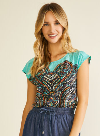 Mosaic Print Short Sleeve Top, Blue,  top, short sleeves, scoop neck, mosaic, spring summer 2020