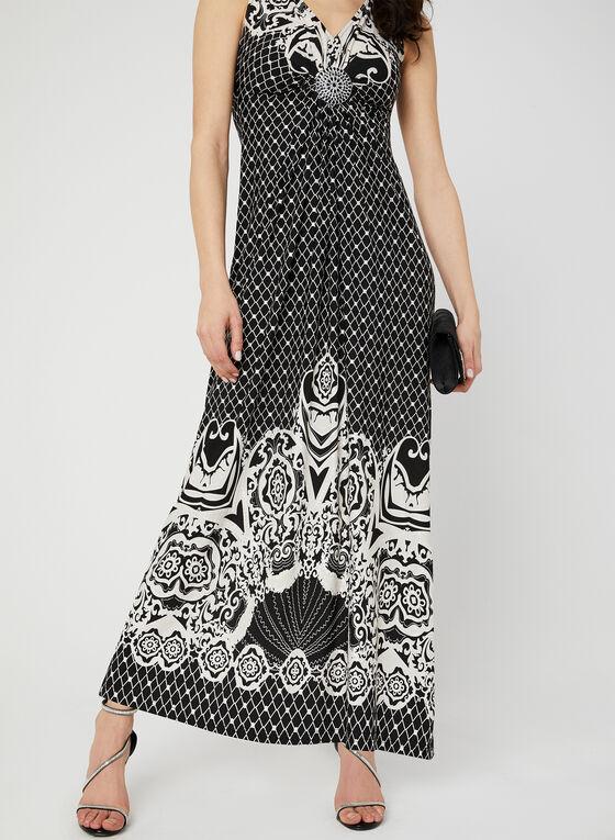Tribal Print Maxi Dress, Black