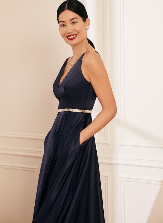 Embellished Satin Gown, Blue