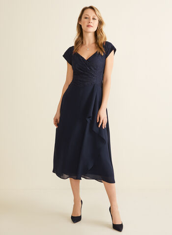 Lace Bodice Faux Wrap Dress, Blue,  dress, evening dress, lace, glitter, chiffon, jersey, cap sleeves, v-neck, wrap, fit & flare, spring summer 2020