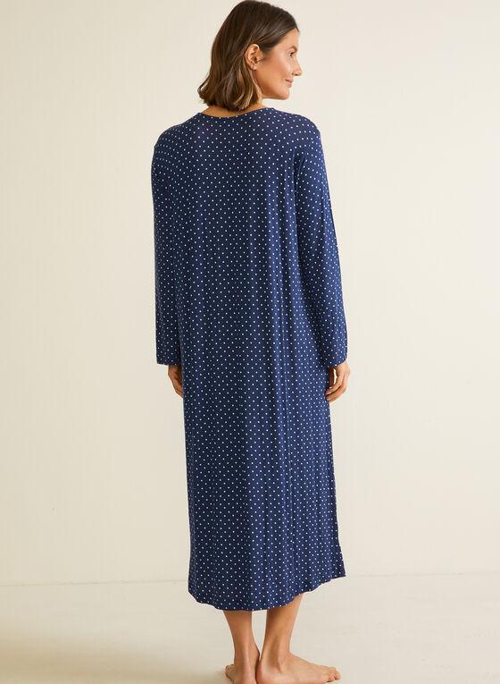 Polka Dot Print Nightgown, Blue