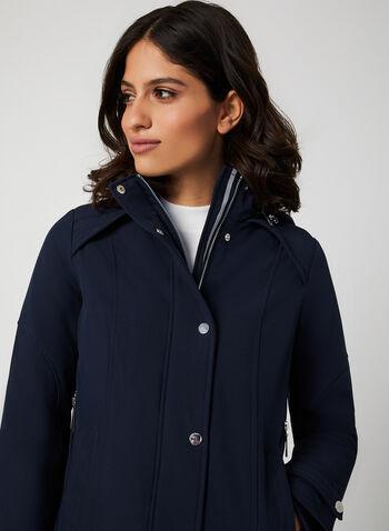 Long Hooded Coat, Blue, hi-res,  coat, quilt coat, long coat, hood, detachable hood, zipper, pockets, fall 2019, winter 2019