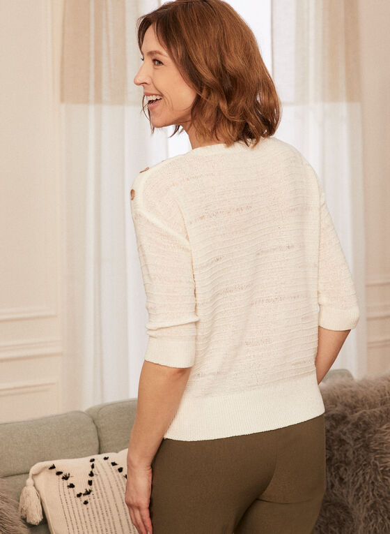 Button Detail Tape Yarn Sweater, Off White