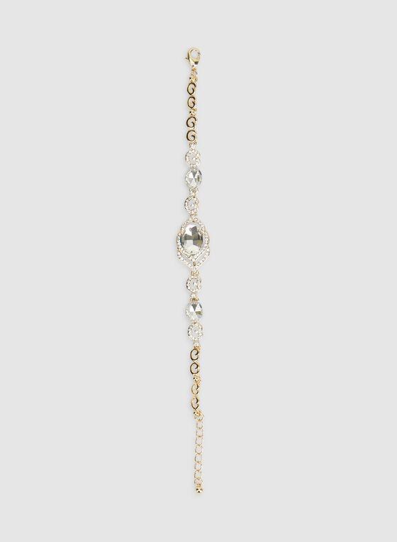 Bracelet à cristaux et pierres facettées, Or