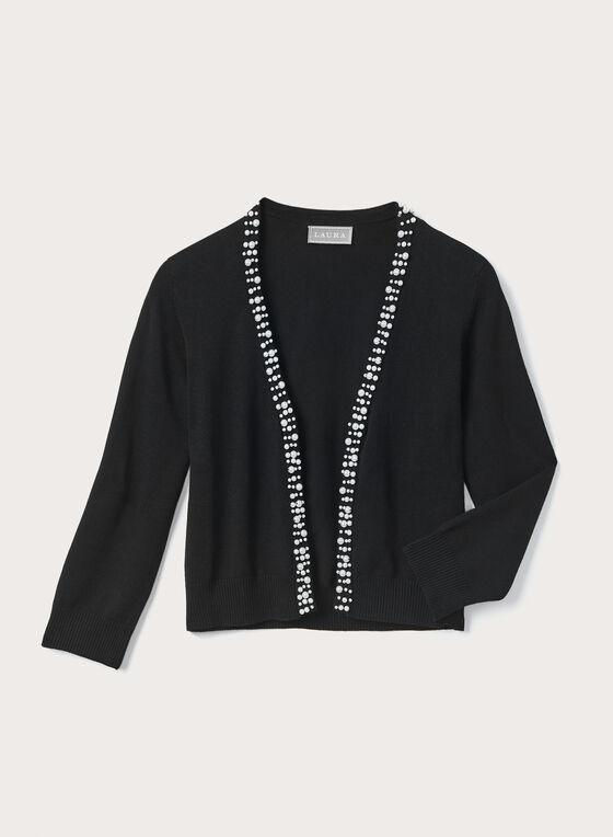 Boléro ouvert en tricot perlé, Noir, hi-res