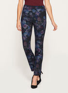 Floral Print Pull-On Pants, Black, hi-res