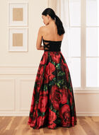 Strapless Floral Ball Gown, Black
