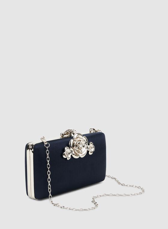 Flower Detail Clutch, Blue, hi-res