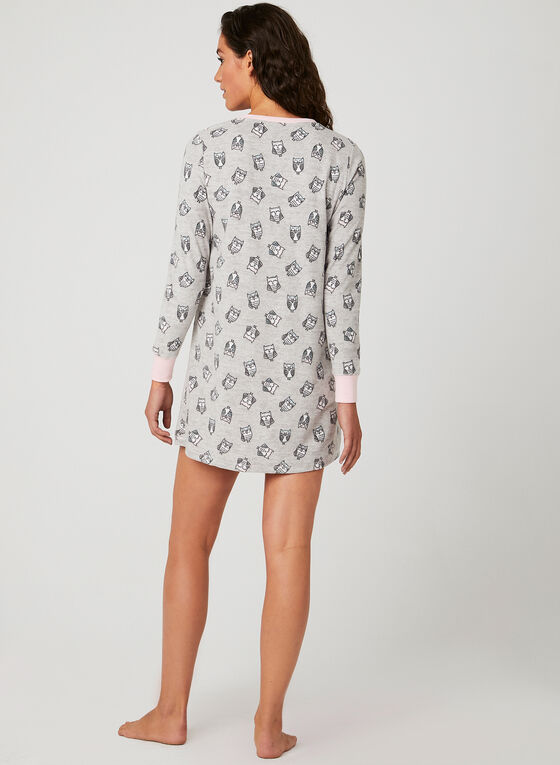 Pillow Talk - Henley Nightgown, Grey, hi-res