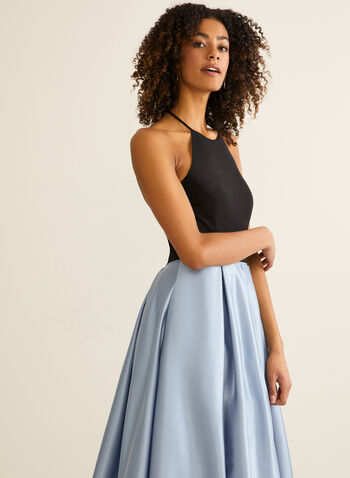 Halter Neck Ball Gown, Blue,  prom dress, ball gown, satin, jersey, halter neck, pockets, sleeveless, open back, crinoline, spring summer 2020