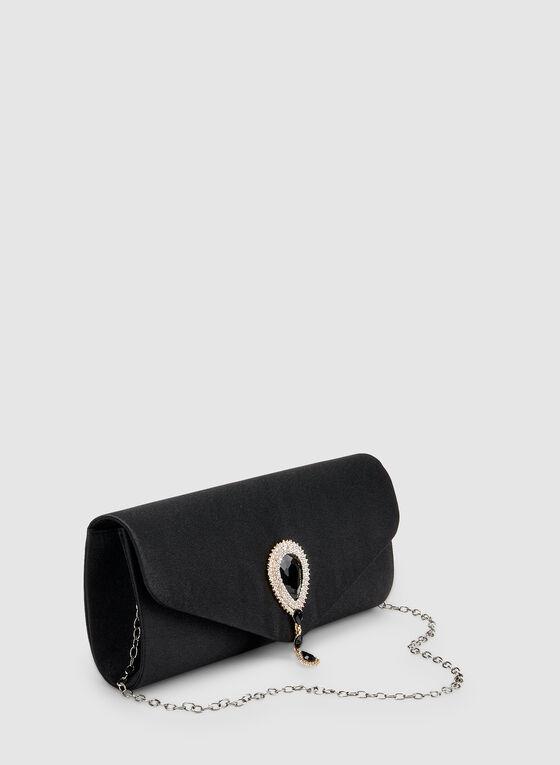 Pochette enveloppe satinée à détail goutte, Noir
