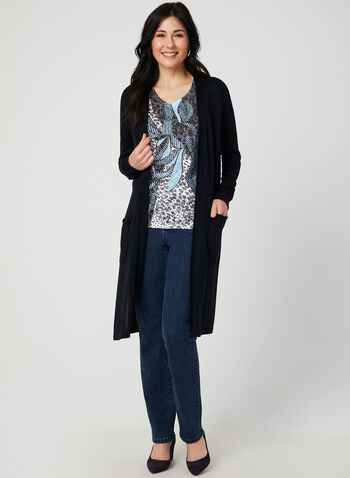 Long Knit Cardigan, Blue,  lightweight, knit, long sleeves, pockets, fall 2019, winter 2019