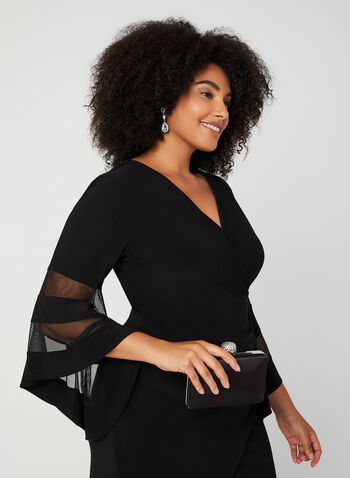 Bell Sleeve Cocktail Dress, Black, hi-res,  fall winter 2019, jersey fabric, crystal, bell sleeves, 3/4 sleeves, long sleeves