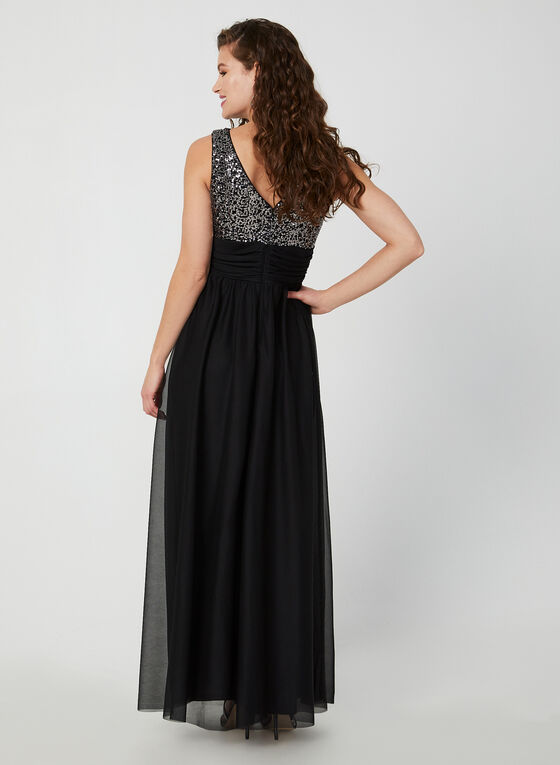 Robe à sequins et jupe en maille filet, Noir
