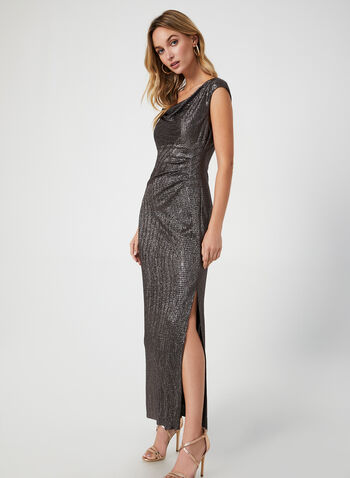 Metallic Cowl Neck Dress, Brown,  metallic dress, metallic, long dress, petites dress, cowl neck, sleeveless dress, holiday, fall 2019, winter 2019