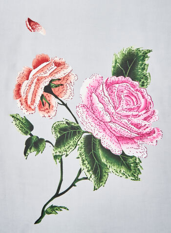 Rose Print Scarf, Grey, hi-res