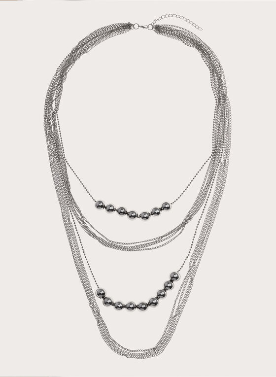 Tiered Chain Ball Insert Necklace, Silver, hi-res