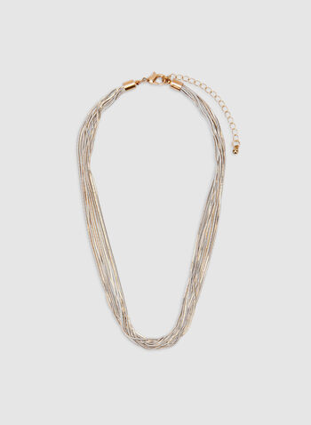 Multi-Row Chain Necklace, White, hi-res