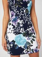 Robe fourreau à fleurs, Bleu