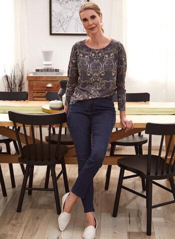 Haut à manches longues et motif paisley, Noir,  automne 2021, haut, pull, tricot, encolure dégagée, manches longues, motif, paisley, imprimé, confortable