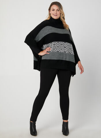 Stripe Print Poncho Sweater , Black, hi-res,  marble buttons, knit material, poncho sweater, upturned collar, fall 2019, winter 2019